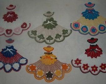 14 Crochet Doily Girl Pattern Lot- Heart, Poinsettia, Shamrock, July 4th, Leaf, Easter, dog, ladybug, fish