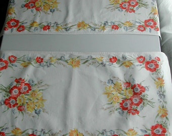 Mid Century Vintage 1950's Floral Graphics Table Runners Pair