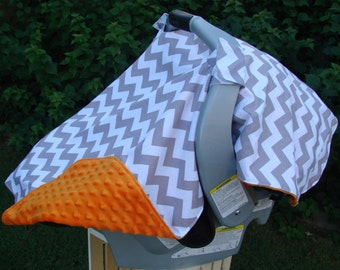 Baby Car Seat Canopy - Baby Car Seat Cover - Chevron Car Canopy - Grey Car Canopy - White Car Canopy - Minky Car Canopy - Baby Shower Gift
