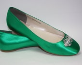 Wedding Shoes - Emerald Green - Flat Wedding Shoe - Ballet Slipper Green Wedding Shoes - Bridal Shoe - Flats - Ballet Flats  Over 200 Colors