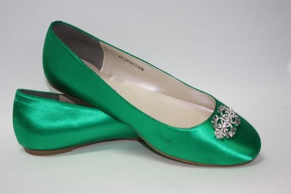 Items similar to Wedding Shoes - Emerald Green - Flat ...
