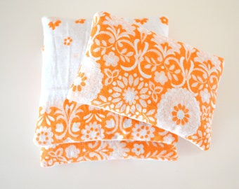 floral orange lavender sachets - vintage fabric - aromatherapy - bright lavender sachets - set of 2 1/2 - lavender pillow