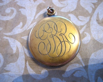 Art Deco Gold Filled Locket w Script Initials Monogram