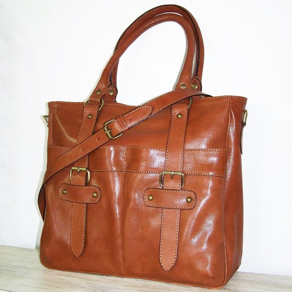 "Caramel Brown Leather Tote, Leather Bag, Handbag Cross body Purse Lea size L, fits a 13"" Laptop"