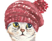 5x7 Cat Watercolor Print - Silver Tabby Cat, Knit Hat, Cat Illustration, Nursery Art