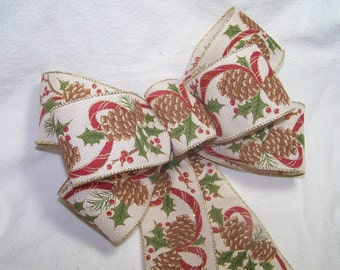 Christmas Bow Burlap Style with Pine Cones Rustic Wreath Pew Holiday Autumn Christmas Decor Gift Party Ribbon