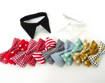Make your own shirt collar with bow tie or necktie, White shirt or Black shirt for ring bearer girl dog and cat, Pet Wedding Accessory