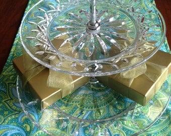 Green Aqua Paisley Table Runner