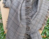 Gray, black and white plaid wool scarf, hand fringed