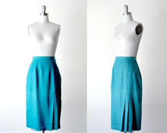 80's blue skirt. 1980's turquoise skirt. mid-length. aqua skirt. m. bright skirt 80.