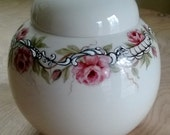 Hand Painted  Porcelain Vase, Flower Arranger - Hand painted china, Kiln Fired