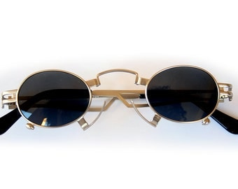 small round oval gold sunglasses for men Steampunk style Hi Tek