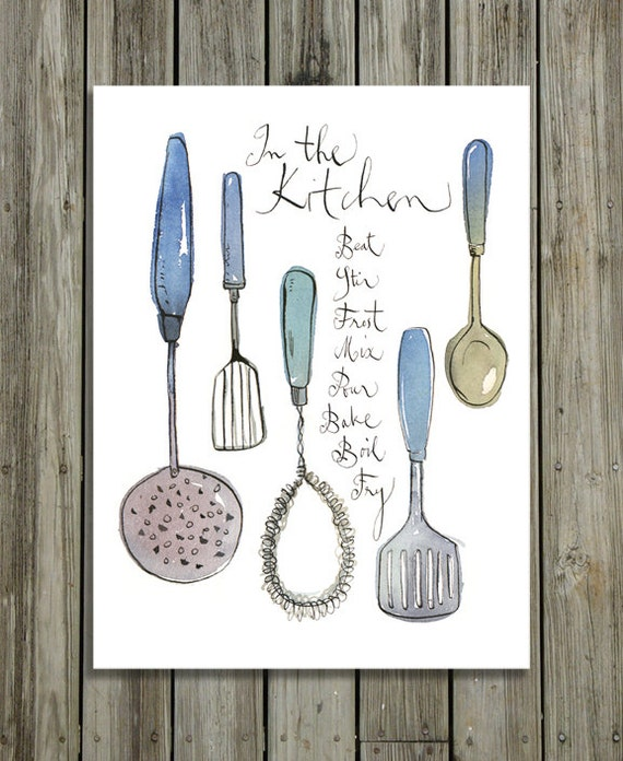 Kitchen Print Vintage Utensils Illustration By Lucileskitchen