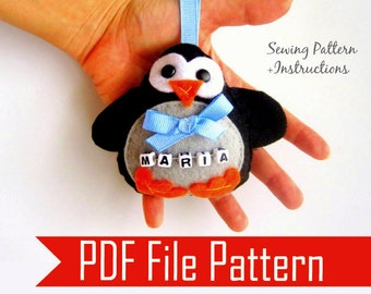 Penguin Sewing Pattern, Ornament PDF Sewing pattern , PDF instant Download  A804