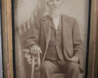 Antique Photo with Antique Photo Frame - Photo of an eldery Man in the 1930s