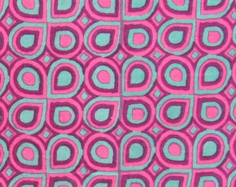 hand printed cotton fabric - pink and blue geometric print- 1 yard - ctjp104