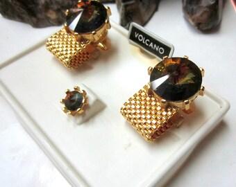 Cuff Links Volcano Glass Watermelon Rhinestone Tie Clip Tack Pin Set Vintage Men's Jewelry NOS