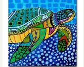 Sea Turtle Folk Art Ceramic Tile  Animal Tile Coaster  Modern Unique Gift Colorful Coaster Modern Art (HG825)