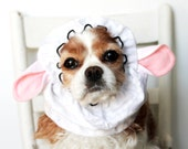 Sheep Ears Dog Snood, Stay-Put 3 Rows Elastic Thread, Pet Hat, Long ear covering , Lamb Snood