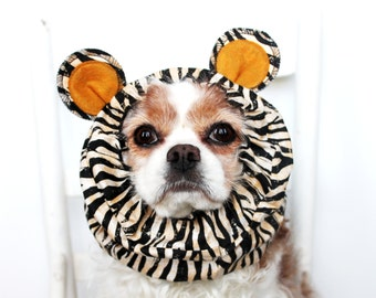 Tiger Ears Dog Snood / Stay-Put 3 Rows Elastic Thread / Pet Hat / Long ear covering / Specialty Snood