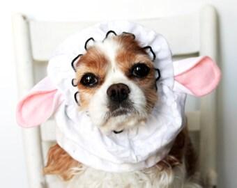 Sheep Ears Dog Snood, Stay-Put 3 Rows Elastic Thread, Pet Hat, Long ear covering , Lamb Snood