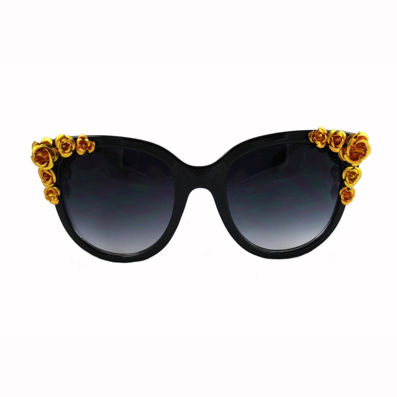 Gold Frame Cat Eye Sunglasses : Floral Bead Sunglasses / Black Flower Sunglasses / Kristin