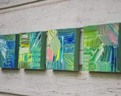 Coastal Dreams #4 - #7 turquoise teal blue lime green pink abstract original paintings contemporary modern urban rustic quadtych