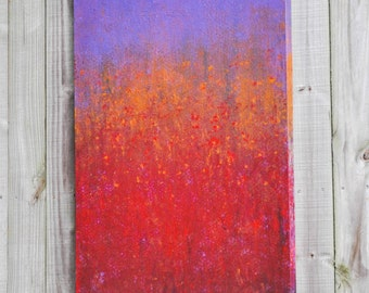 Wildflowers 30x48 very large abstract landscape original contemporary painting purple red golden yellow primitive rustic industrial