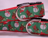 Reindeer and Snowmen Dog Collar - 1 inch adjustable quick snap collar