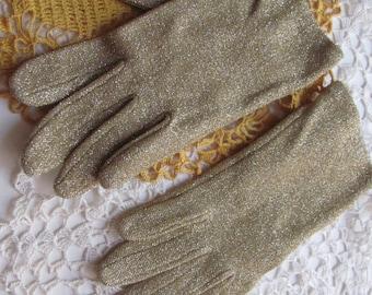 Vintage Gold Metallic Stretch Wrist Gloves