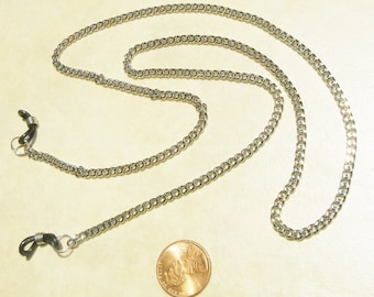Eyeglass chain, cable link, silver tone, lightweight,  men, unisex, artisan made, 26.5 inches