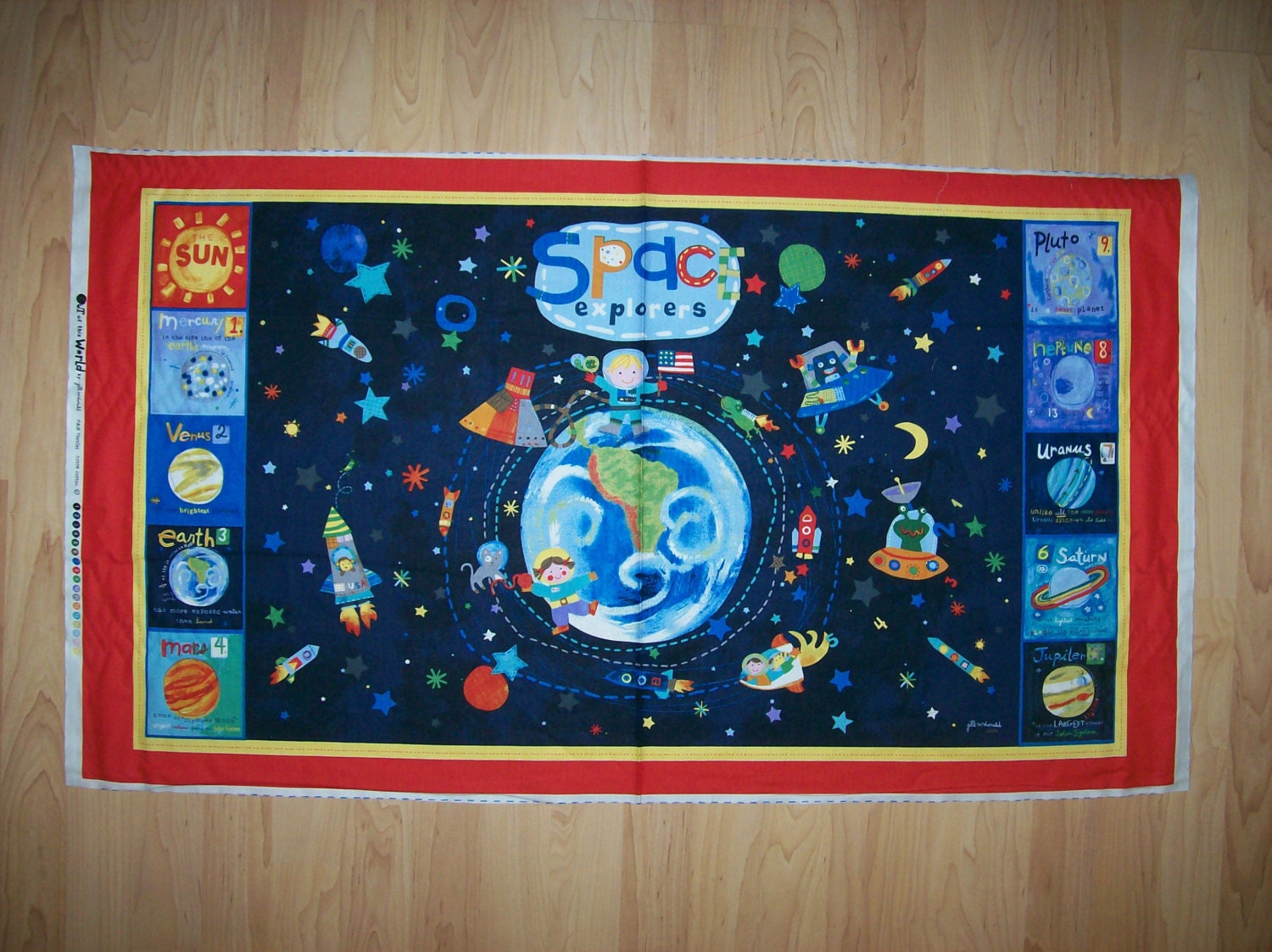 A wonderful out of this world solar system with all the for Solar system fabric panel