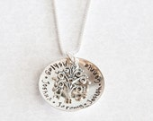 ROOTS -- Hand Stamped Sterling Silver Personalized Necklace for Mom, Grandma, Sister, Wife, Friend