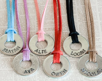 Suede Kid Tag -- Hand Stamped Personalized Washer on Suede necklace for boys girls childrens valentines day son daughter