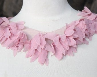 Cute embroidered   chiffon   applique pink color