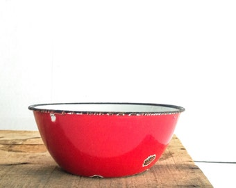 Vintage Red Rusty Enamel Bowl, Dish, Metal Bowl