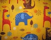 1 Yard PLAYDAY Cotton Fabric BTY Animals On Mustard Robert Kaufman