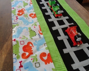 Dino Train Caddy Roll up Tote with Railroad Tracks