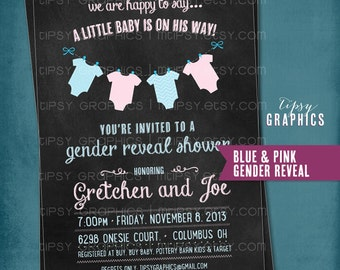 Chalkboard Onesie Baby Shower or Gender Reveal Invitation by Tipsy Graphics.
