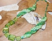Handmade Necklace Stairway steps to Spiral Bead and Button sample greens
