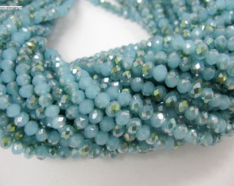90 pcs 4x6mm rondelle blue green color crystal glass beads