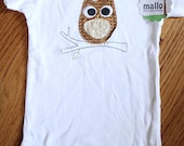 6-9 Month Applique Pensive Owl Onesie, Ready to Ship