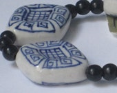 Set of 4 White and Blue Porcelain Beads  28 x 22mm  90-3-106