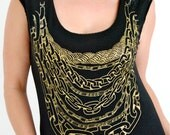 On sale. Gold chains screen printed on a black t-shirt- women's. scoop neck. gold jewelry. gold chains on a tshirt. graphic tee.