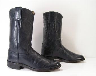 justin ropers womens 5 b m navy blue cowboy western cowgirl ladies