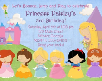 Princess Bounce House Invitation Birthday Invitation-Digital File