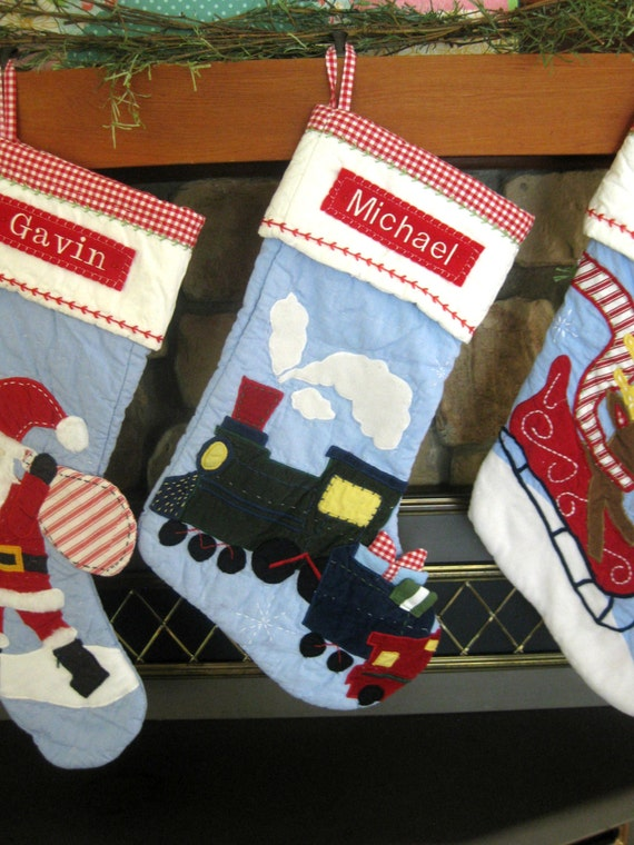 Personalized Train Stocking Pottery Barn Quilted Stocking