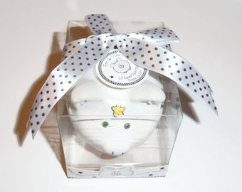 "Baby Girl Mini Piggy Bank, Baby Gift, Nursery, Swarovski Crystals, Duck, Baby Shoes,"" It's a Girl"""