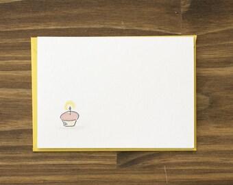 cupcake yellow birthday card