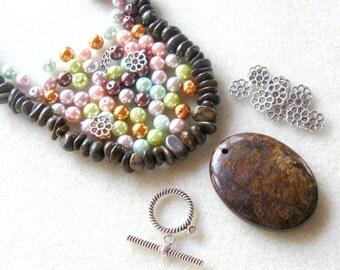 Bronzite Pendant and Beads, Glass Pearls, Jewelry Making Kit, Gemstone Beads, Bead Kit,  DIY Jewelry Kit Craft Supplies Multi Color Pearls
